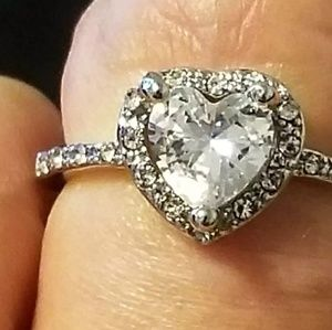 Jewelry - 925 Silver and CZ Solitaire Ring Size 8